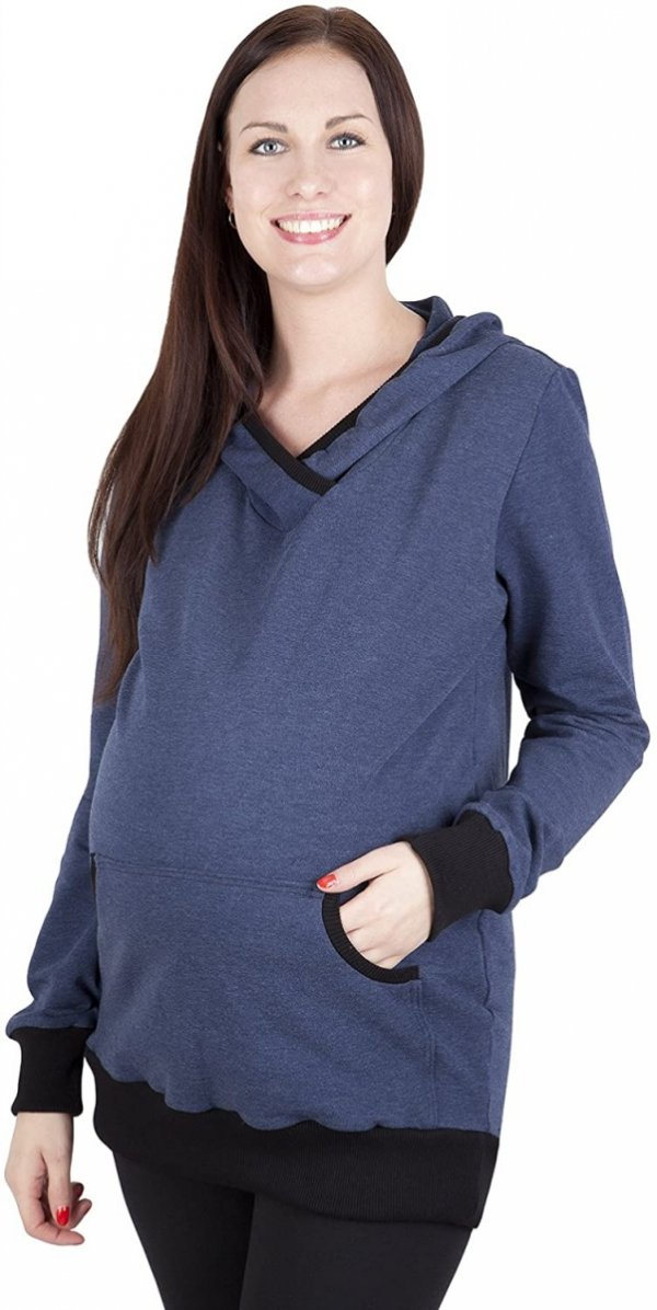 Bluza ciążowa z kapturem Vera 9049 dla kobiet w ciąży niebieski2