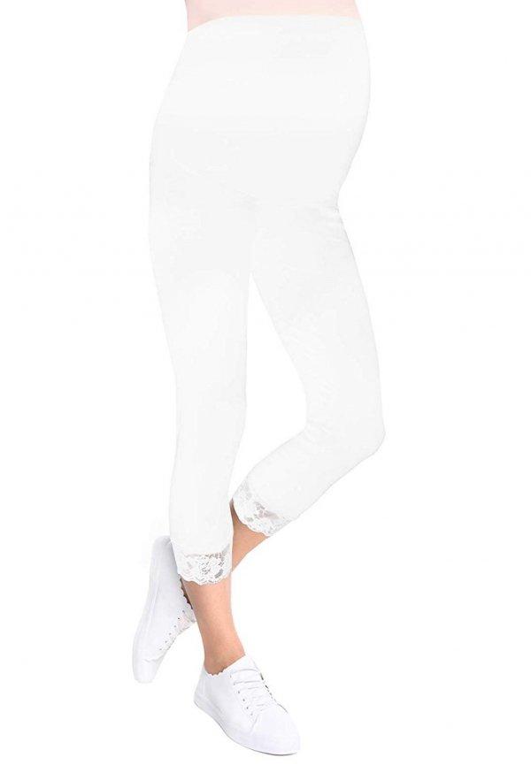 Komfortowe legginsy ciążowe 3/4 z koronką białe 1
