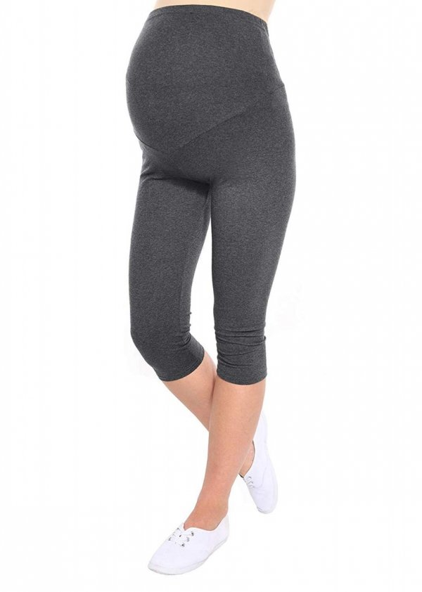 Komfortowe legginsy ciążowe 3/4 grafitowe 2