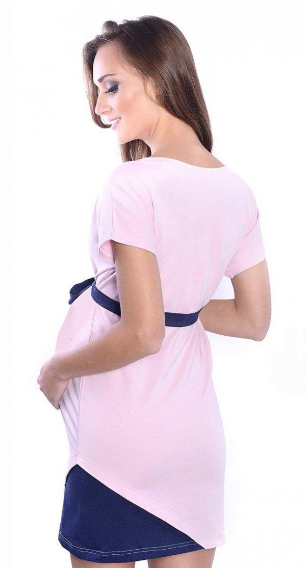 """Wyjątkowa sukienka ciążowa z ozdobnym paskiem """"Ines"""" 9072 jasny róż 2"""