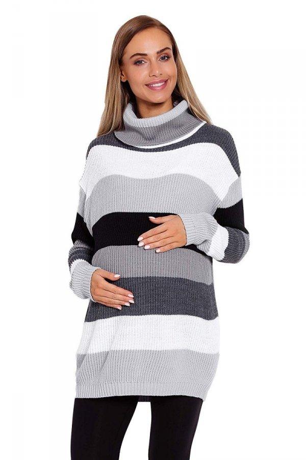 Wygodny sweter ciążowy w paski 70007/2012 szary 1