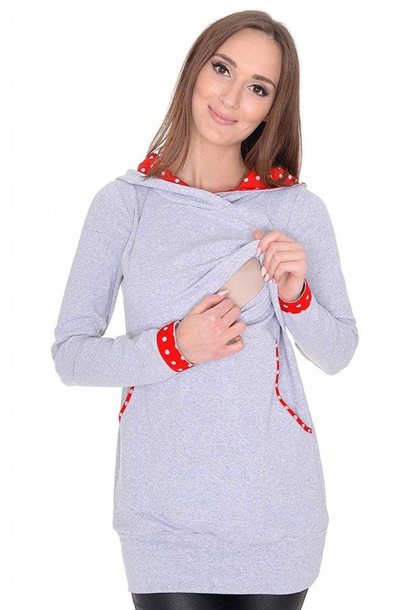 3 w1 bluza ciążowa i do karmienia z kapturem 3077/M07 melanż 2
