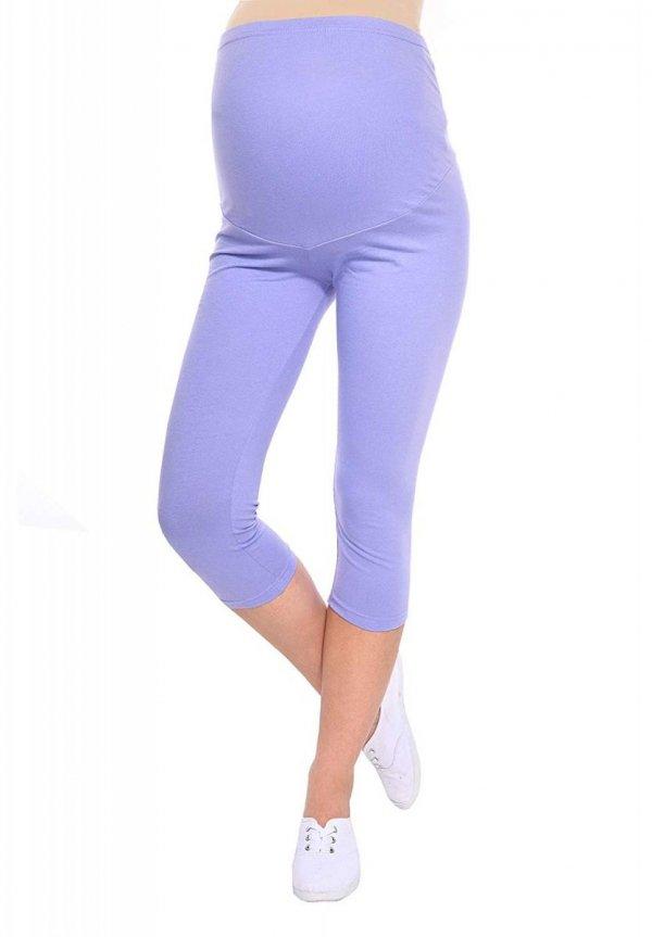 Komfortowe legginsy ciążowe 3/4 jasno fioletowe 9