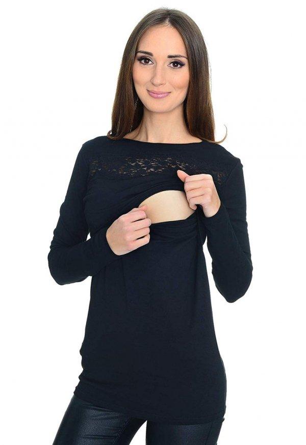 Zjawiskowa bluzka z koronka ciążowa i do karmienia 9089 czarna 2