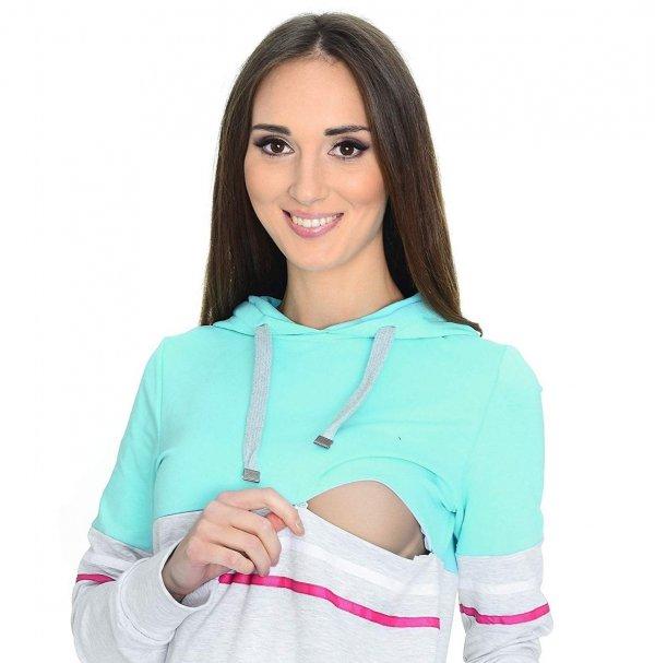 MijaCulture - 3 w 1 bluza ciążowa i do karmienia M72 4111 mięta/melanż 3