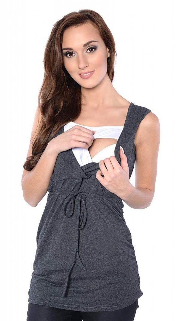 MijaCulture - bluzka 2 w 1 ciążowa i do karmienia M14/3092 grafit 2