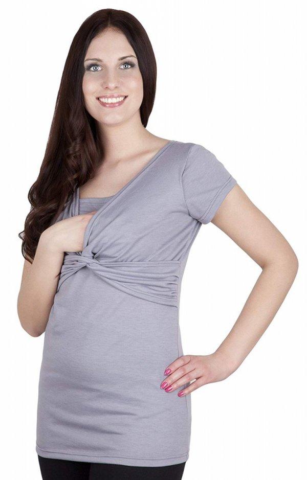 bluzka z pętelką 2 w1 ciążowa i do karmienia M18/4003 szary 1