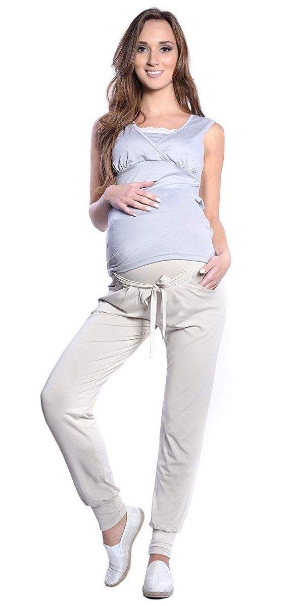 MijaCulture - spodnie alladynki z panelem 4012/ M 33 beż 2