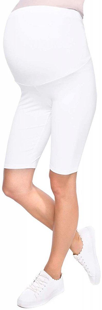 Wygodne krótkie legginsy ciążowe Mama 1052/2 komplet czarny/biały2