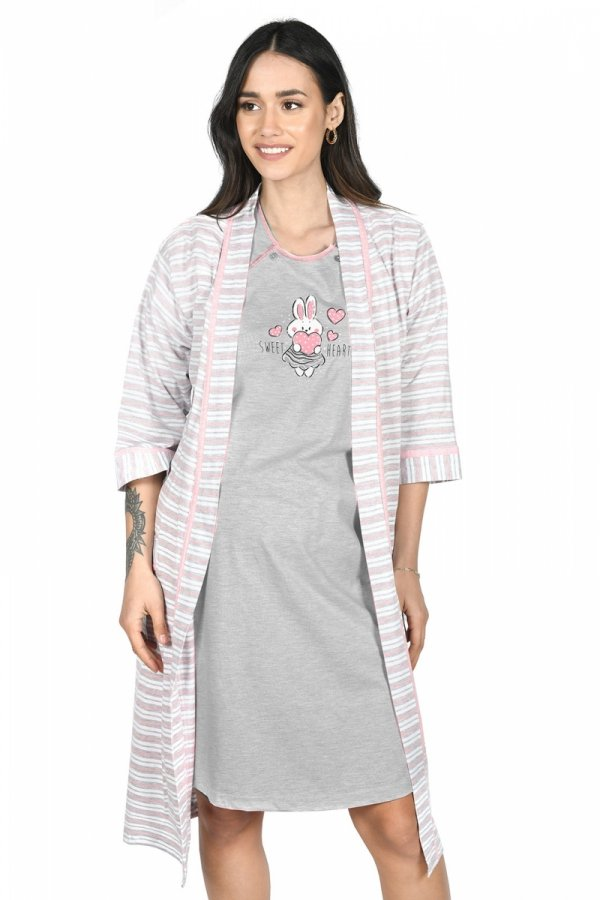 MijaCulture - 2 w 1 komplet koszula nocna i do karmienia + szlafrok 2075 melanż królik