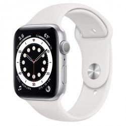 Apple Watch Series 6 44mm GPS Aluminium w kolorze srebrnym z paskiem sportowym w kolorze białym