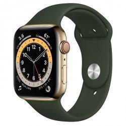 Apple Watch Series 6 44mm GPS + LTE (cellular) Stal nierdzewna w kolorze złotym z paskiem sportowym w kolorze cypryjskiej zieleni
