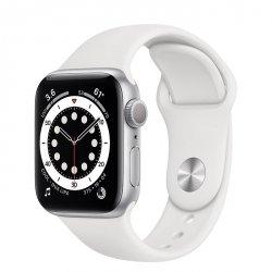 Apple Watch Series 6 40mm GPS Aluminium w kolorze srebrnym z paskiem sportowym w kolorze białym