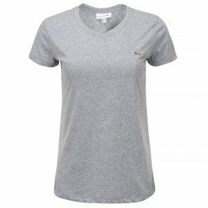 Lacoste t-shirt koszulka damska v-neck szara