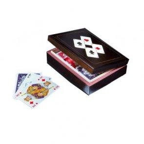 Karty Piatnik lux w pudełku drewnianym z asami