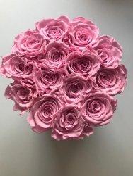 Różowe żywe WIECZNE róże w średnim białym boxie