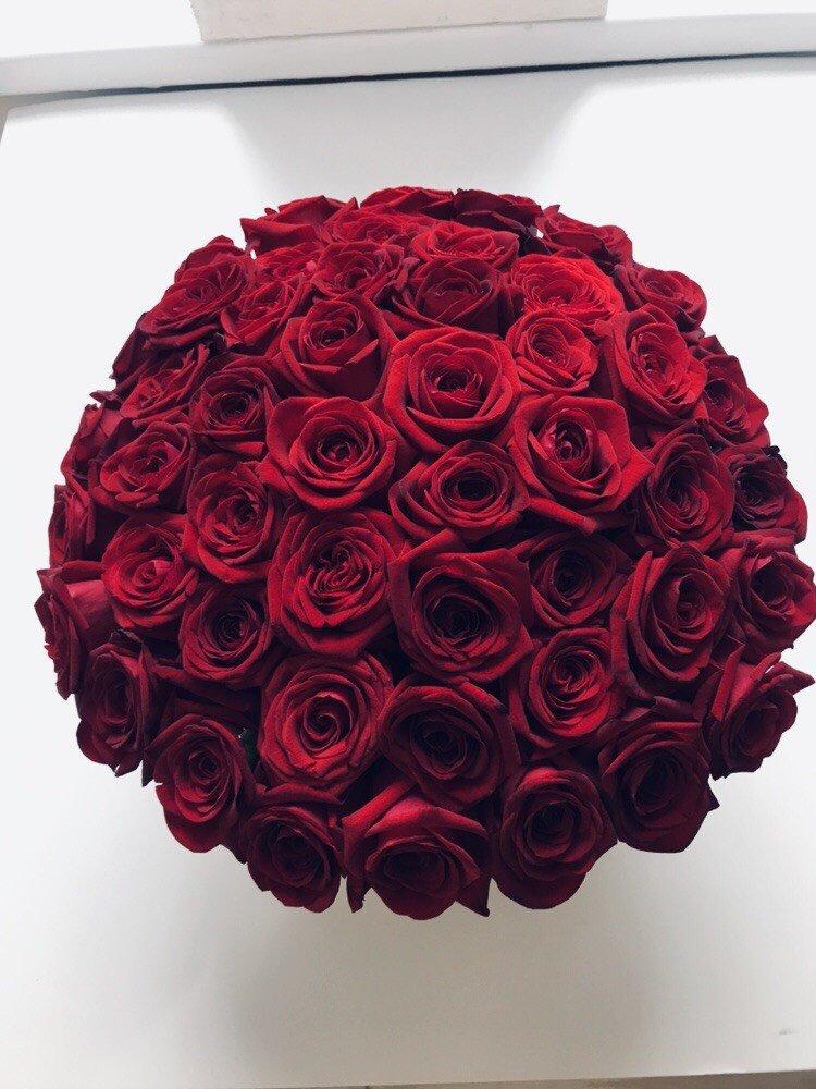 POWIĘKSZONY czerwone żywe róże w dużym kremowym VELVET boxie