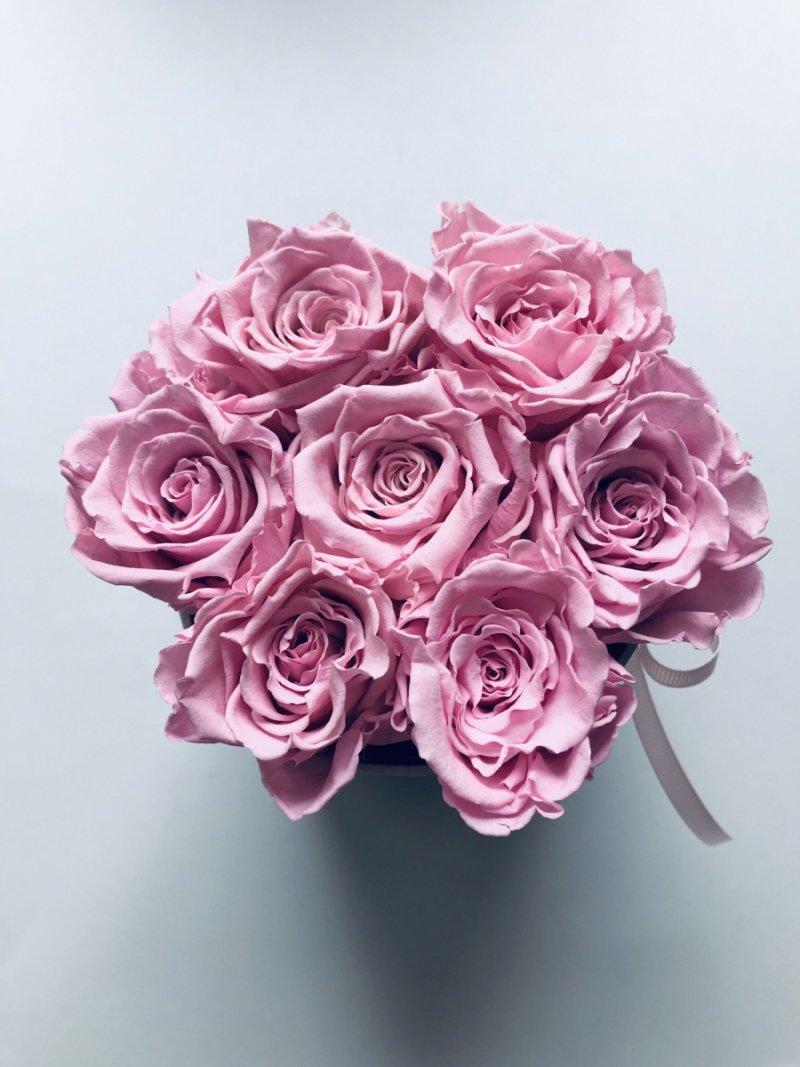 Różowe żywe WIECZNE róże w małym białym boxie XS
