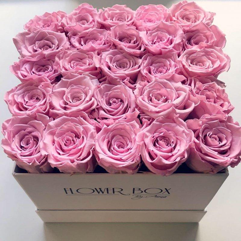 Różowe żywe WIECZNE róże w kwadratowym białym boxie