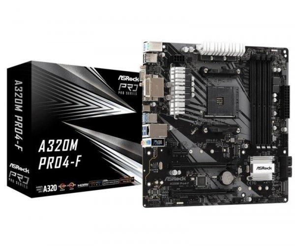 Płyta ASRock A320M Pro4-F /AMD A320/DDR4/SATA3/M.2/USB3.0/PCIe3.0/AM4/mATX