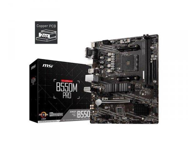 Płyta MSI B550M PRO /AMD B550/DDR4/SATA3/M.2/USB3.1/PCIe4.0/AM4/mATX