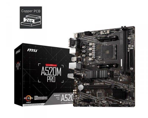 Płyta MSI A520M PRO /AMD A520/DDR4/SATA3/M.2/USB3.1/PCIe3.0/AM4/mATX
