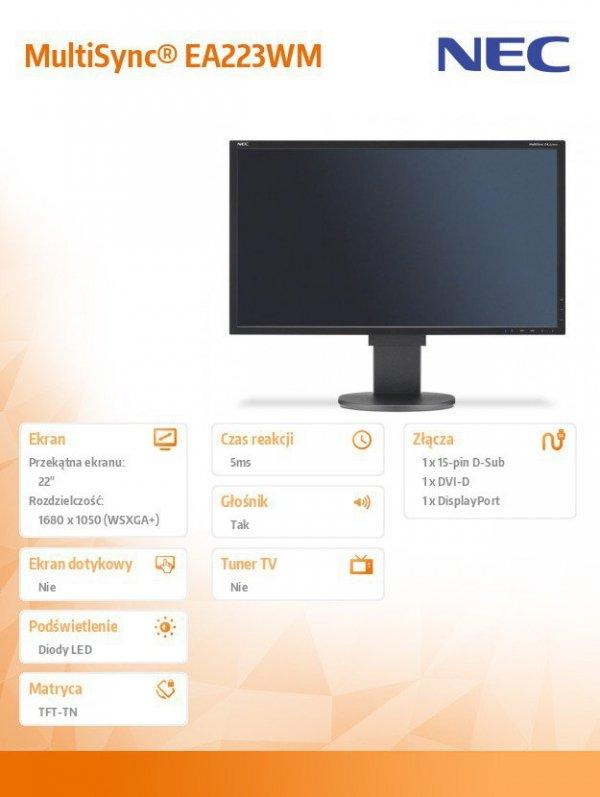 Monitor 22 MS EA223WM bk W-LED TFT,DVI