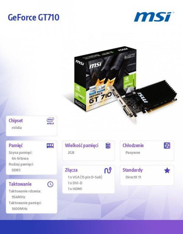 Karta graficzna GeForce GT 710 2GB DDR3 64BIT DVI/D-SUB/HDMI