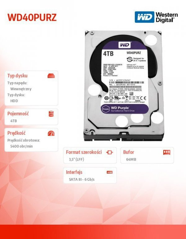 HDD Purple 4TB 3,5'' 64MB  SATAIII/5400rpm