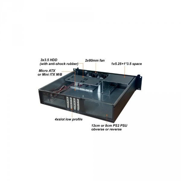 Kompaktowa obudowa PC ATX Rack 19cali 2U czarna