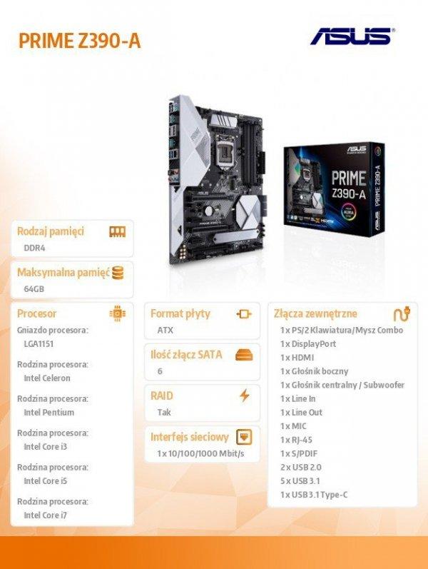 Płyta główna PRIME Z390-A s1151 4DDR4 HDMI/DP/M.2/USB3.1 ATX