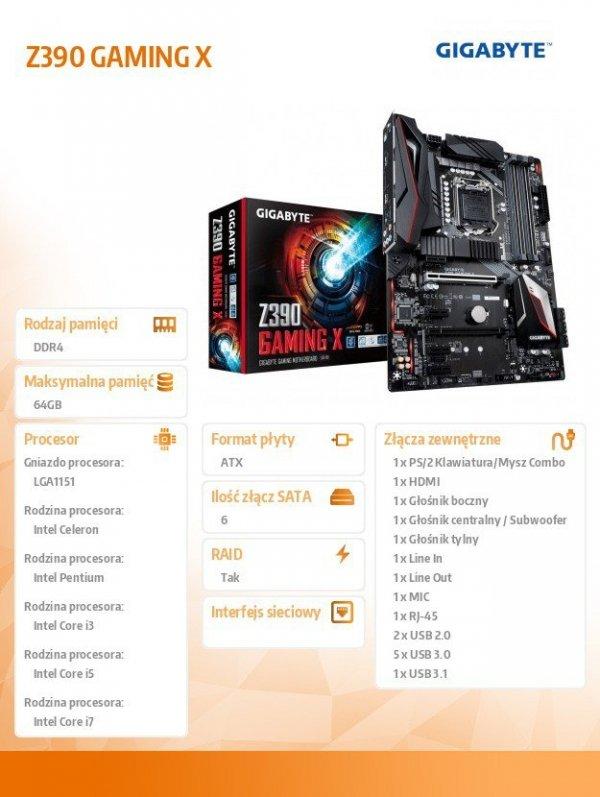 Płyta główna Z390 GAMING X s1151 4DDR4 HDMI/USB 3.1 M.2 ATX