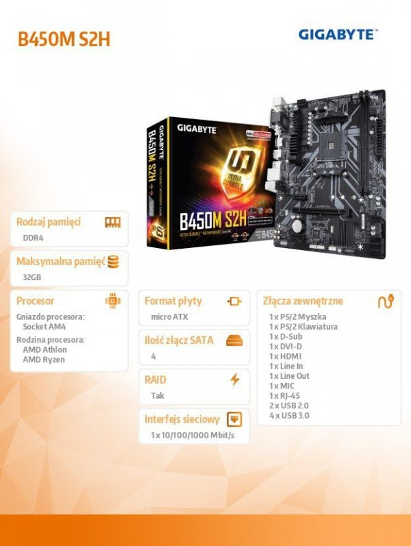 Płyta główna B450M S2H AM4 B450 2DDR4 DVI/HDMI/VGA M.2 uATX