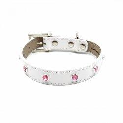 Luxury collar GLAMOR white with SWAROVSKIEGO® ROSE crystals