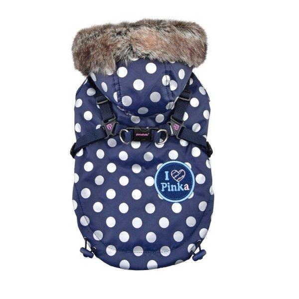 zimowa, ciepła, granatowa kurtka w groszki z kapturem od Puppia