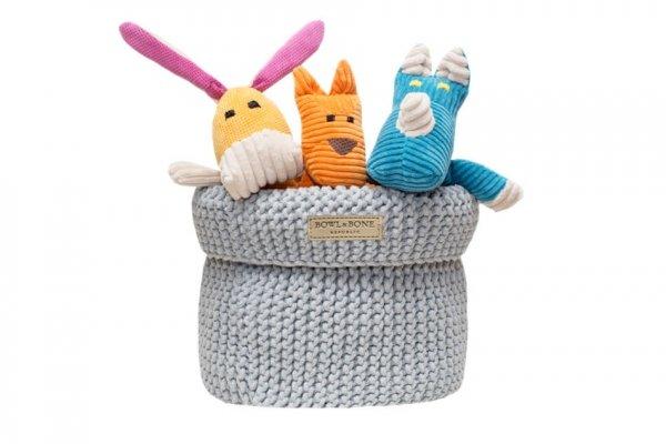 Luksusowy koszyk na zabawki COTTON szary