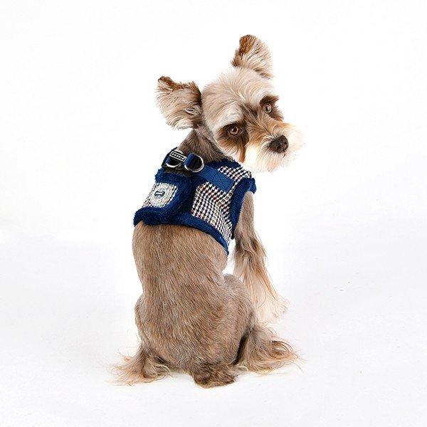 ocieplane szelki - kamizelka granatowe dla psa od Puppia