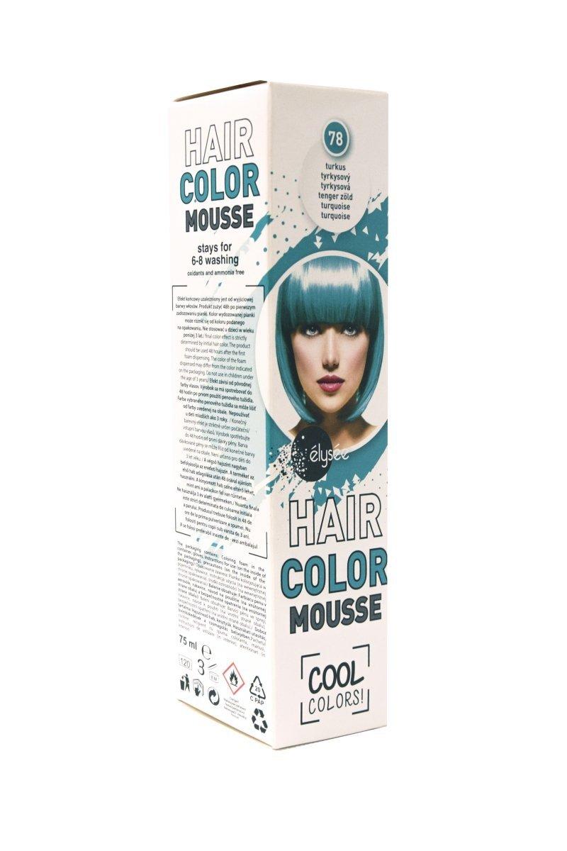 Elysee koloryzująca pianka do włosów. Kolor turkus. Nr 78.