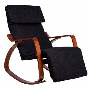 Fotel bujany regulowany podnóżek drewniane ramiona