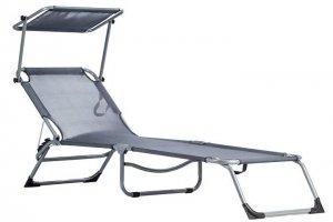 Leżak leżanka fotel ogrodowy z daszkiem - regulowana pozycja