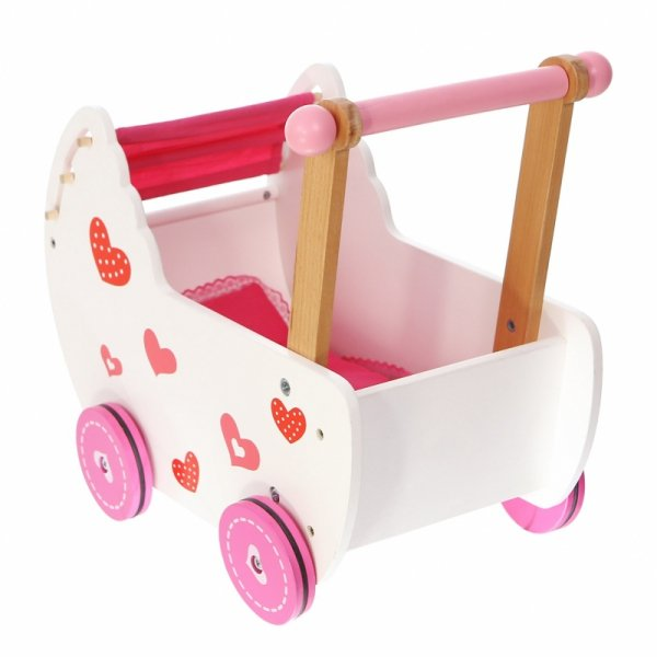 Wózek dla lalek drewniany z pościelą Ecotoys