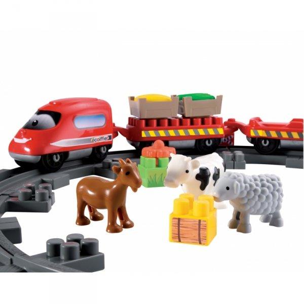 Ecoiffier Abrick Kolejka Pociąg Ze Zwierzętami 57 elementów