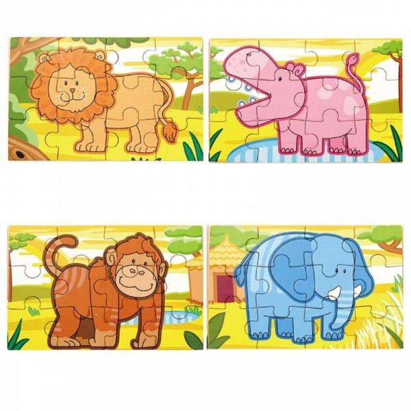 Drewniane Puzzle Safari Zwierzęta Viga Toys Układanka 4 Obrazki