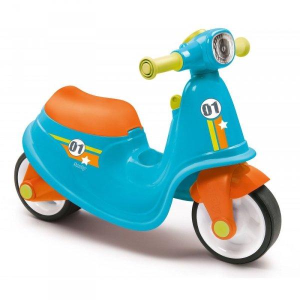 Niebieski jeździk skuter Smoby Ciche koła Blue Scooter