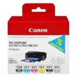 Canon oryginalny wkład atramentowy / tusz PGI-550/CLI-551PGBK/C/M/Y/BK/GY Multipack. black/color. 6496B005. Canon PIXMA iP8750. MG7150. MG6350 6496B005
