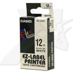 Casio oryginalna taśma do drukarek etykiet. Casio. XR-12WE1. czarny druk/biały podkład. nielaminowany. 8m. 12mm