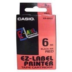 Casio oryginalna taśma do drukarek etykiet. Casio. XR-6RD1. czarny druk/czerwony podkład. nielaminowany. 8m. 6mm