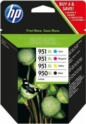 HP oryginalny wkład atramentowy / tusz blistr. C2P43AE#301. No.950XL + 951XL. cyan/magenta/yellow/black. 1500/2300s. 4szt. HP C2P43AE#301