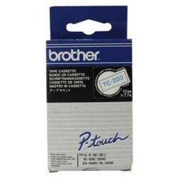 Brother oryginalna taśma do drukarek etykiet. Brother. TC-203. niebieski druk/biały podkład. laminowane. 7.7m. 12mm