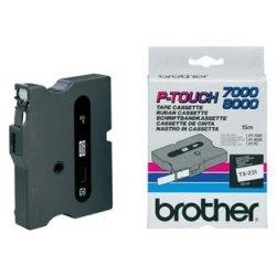 Brother oryginalna taśma do drukarek etykiet. Brother. TX-231. czarny druk/biały podkład. laminowane. 8m. 12mm